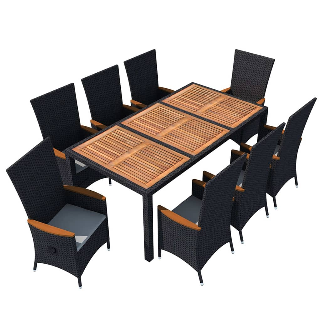 Clearwater set with cushions acacia table top poly rattan black